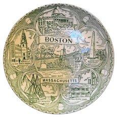 Boston Souvenir Plate Green Transferware