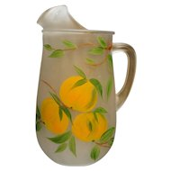 Gay Fad Juice Pitcher Satin Frosted Hand Painted Oranges