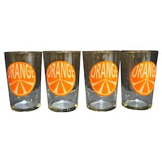 Orange Juice Slice Glass Tumblers Set of Four Vintage
