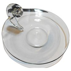 Steuben Snail Scroll Handle Crystal Clear Glass 8 IN Plate