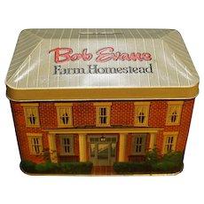 Bob Evans Farm Homestead Tin Bank Recipe Box Made in England 1986