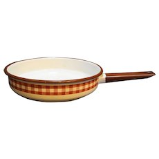 Brown White Gingham Plaid Enamel Skillet Frying Pan
