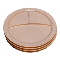 Mallo-Ware Pink Melmac Melamine Divided Grill Plates Set of 4