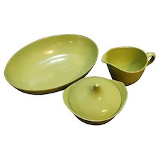 Oneida Olive Green Melmac Dinnerware Bowl Cream Sugar