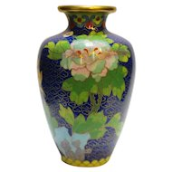 Cloisonne Enamel Brass Vase Blue Flowers 4 IN
