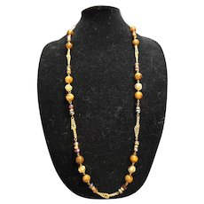 Brown Lucite Crystal Gold Tone Chain Necklace