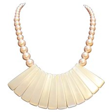 Pale Pink Pearlescent Plastic Bead Bib Necklace
