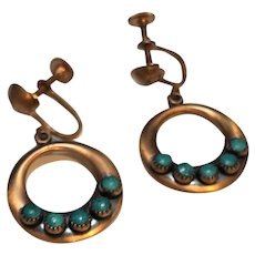 Copper Turquoise Dangle Hoop Screwback Earrings