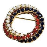 Red White Blue Wreath Circle Rhinestone Pin Brooch