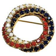 Red White Blue Wreath Circle Rhinestone Pin Brooch