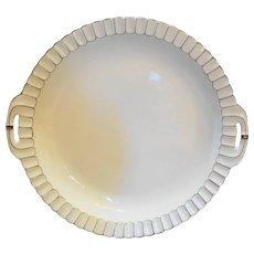 Beyer Bock White Porcelain Cake Plate White Scalloped Gold Trim