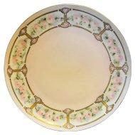 J&C Bavaria Jaeger Hand Painted Pink Roses Porcelain Plate 1900