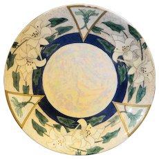 PL Limoges Art Deco Art Nouveau Floral Lustre Hand Painted Plate