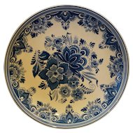 Delft Schoonhoven Holland Flowers Cabinet Plate Bowl 11 IN