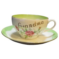 Lefton Large Grandma Coffee Hand Painted Cup Saucer Pink Roses Green Trim