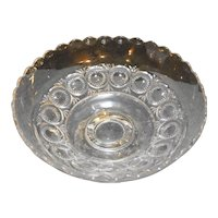 Circle Zipper Bullseye Pattern Glass Footed Bowl Compote