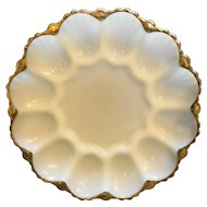 Anchor Hocking Milk White Deviled Egg Plate Gold Trim