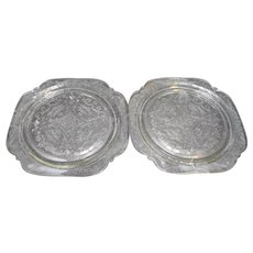 Indiana Glass Recollection Clear Dinner Plates Pair