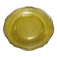 Federal Glass Amber Patrician Spoke Luncheon Plates Set of 3