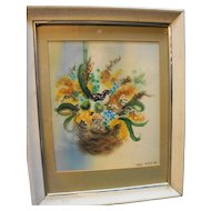 Nest Watercolor by Mary Dance South Bend Artist 1970s Framed