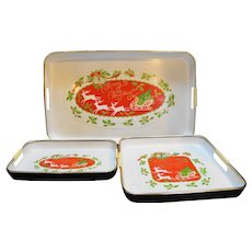 Merry Christmas Lacquerware Trays Set Japan