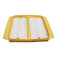 Tupperware 723-1 Deviled Egg Carrier Dish Harvest Gold Sheer White