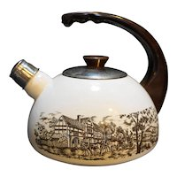 Enamel Tea Kettle Brown Tole Coaching Scenes Made in Spain