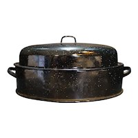 Savory Roaster Black Graniteware Enamel 15 IN