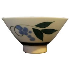 Porcelain Rice Bowl Blue Grapes Berries