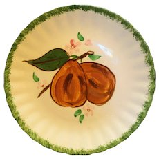 Blue Ridge Southern Pottery Hand Painted Lunch Plate Brown Pears Apples Green Trim