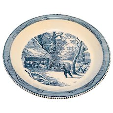 Currier Ives Half Snowy Morning Pie Plate Baker Royal China Blue