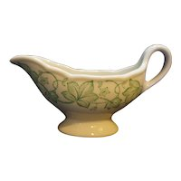 Wellsville China Restaurant Ware Green Ivy Leaves Gravy Boat