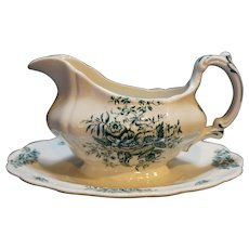 Peony Green Booths England Gravy Boat Attached Underplate