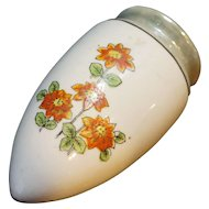 Art Deco Grey Lustre Orange Flowers Wall Pocket Vase Japan Porcelain