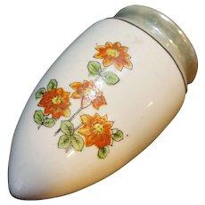 Art Deco Grey Lustre Orange Flowers Wall Pocket Vase Japan Porcelain