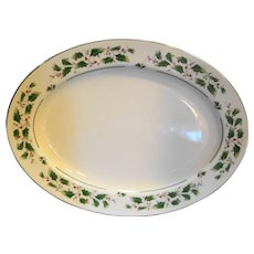 Fine China of Japan Holly Holiday Oval Platter 14 IN