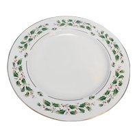 Fine China of Japan Holly Holiday Chop Plate Round Platter 12 IN