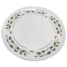 Fine China of Japan Holly Holiday Cake Plate Coupe Round Platter 10 IN