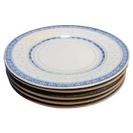 Jingdezhen Blue White Rice Grain Porcelain 5 Plates 8 IN