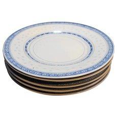 Jingdezhen Blue White Rice Grain Porcelain 5 Plates 8 IN