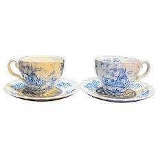 Johnson Brothers Tulip Time Blue Transferware Ironstone Cups Saucers Pair