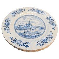 Johnson Brothers Tulip Time Blue Transferware Ironstone Dinner Plates Set of 4