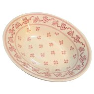Johnson Brothers Laura Ashley Petite Fleur Burgundy Pink Oval Bowl 9 IN