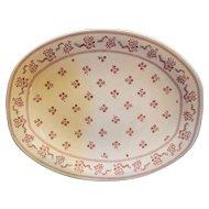 Johnson Brothers Laura Ashley Petite Fleur Burgundy Pink Oval Platter 12 IN