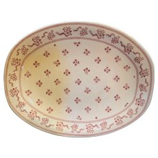 Johnson Brothers Laura Ashley Petite Fleur Burgundy Pink Oval Platter 12 IN