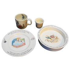 Wedgwood Peter Rabbit 4 Piece Set Plate Bowl Porringer Mug Egg Cup Nursery Set