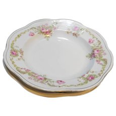 Zeh Scherzer Mignon Pink Roses Rimmed Soup Bowls Bavaria Antique Porcelain