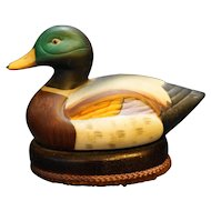 Mallard Duck Hand Painted Bisque Porcelain Duck Decoy Lint Brush