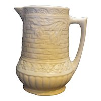 Robinson Ransbottom Cream Basketweave Embossed  Pottery Pitcher 1 Qt Size