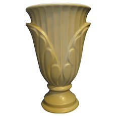 Haeger Sage Green Palm Front Tall Vase 9 5/8 IN